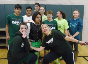 CSW volleyball with 8th and Mrs. B
